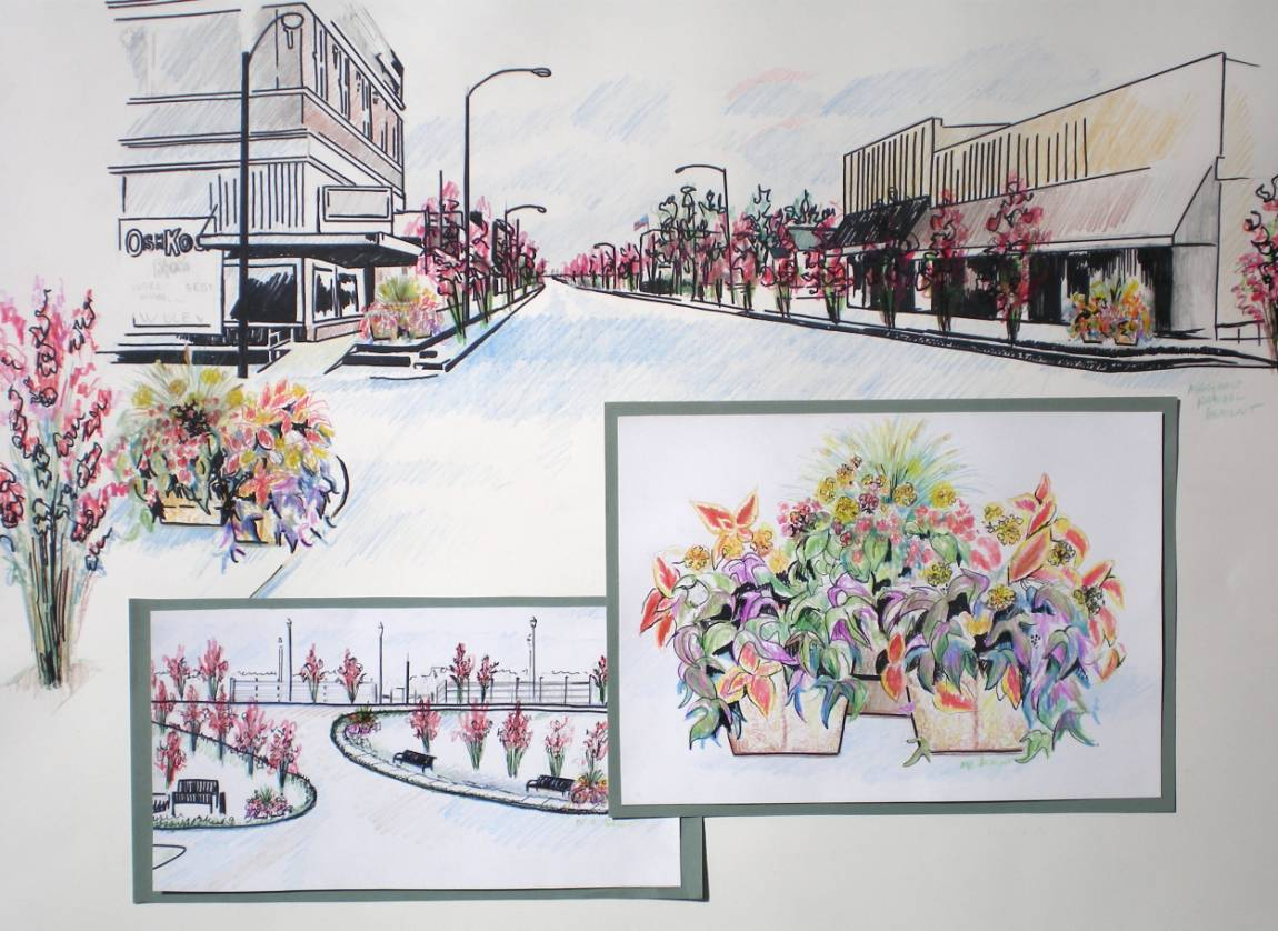 Downtown New Madrid Drawing